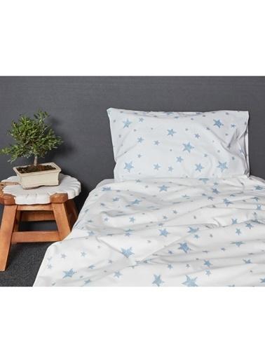 Hibboux 100x150 Star Bebek Nevresim + Yastık Kılıfı - W.Blue Renkli